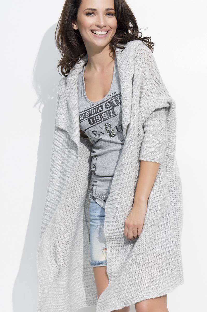 Grey Long Hooded Cardigan
