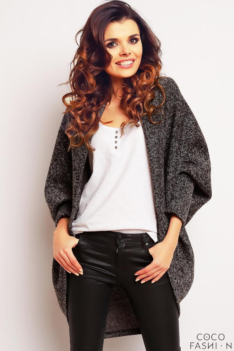 dark-grey-oversized-bat-sleeves-cardigan
