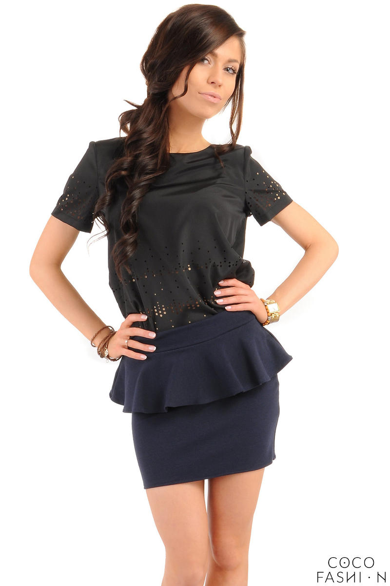 Navy Tiered Mini Skirt with Back Gold Zip Fastening