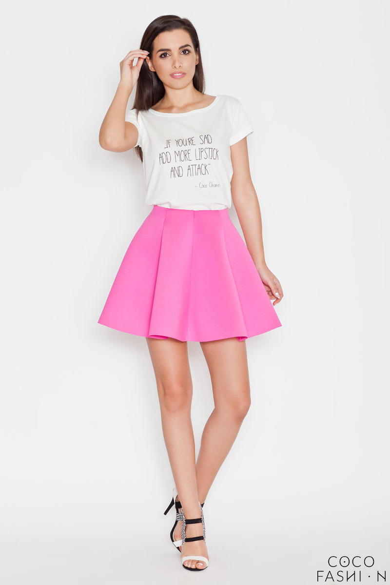 Fuchsia Light Pleates High Waist Mini Skirt