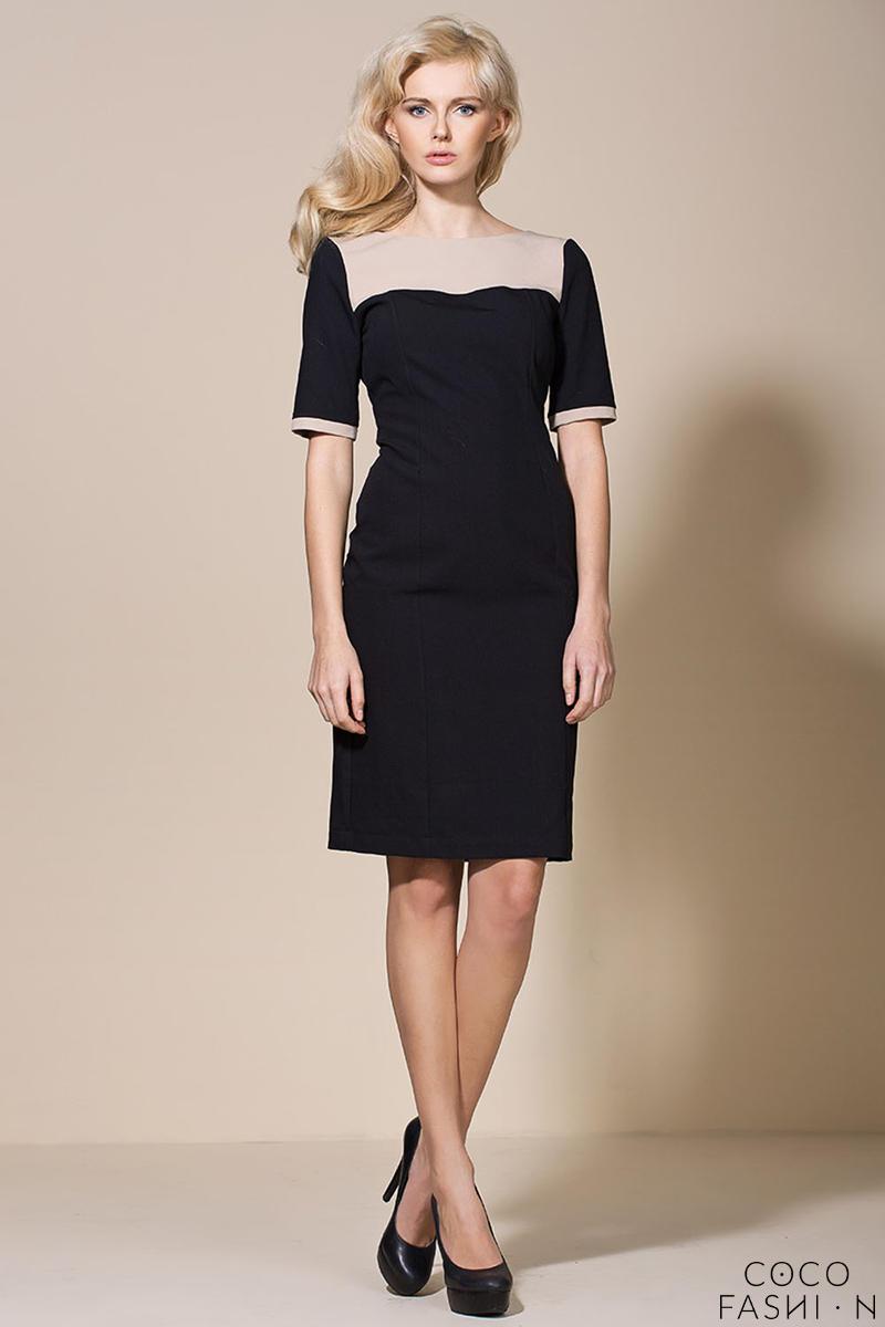 Beige/Black Seam Shift Dress with Back Slit от cocofashion
