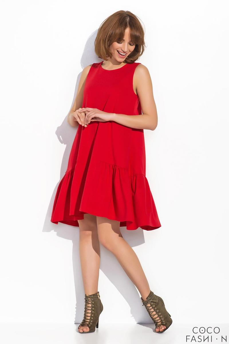 Red Sleeveless Drop Waist  Swing Dress