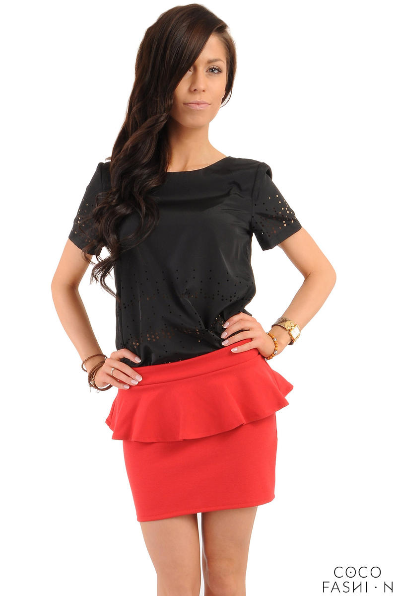 Red Tiered Mini Skirt with Back Gold Zip Fastening