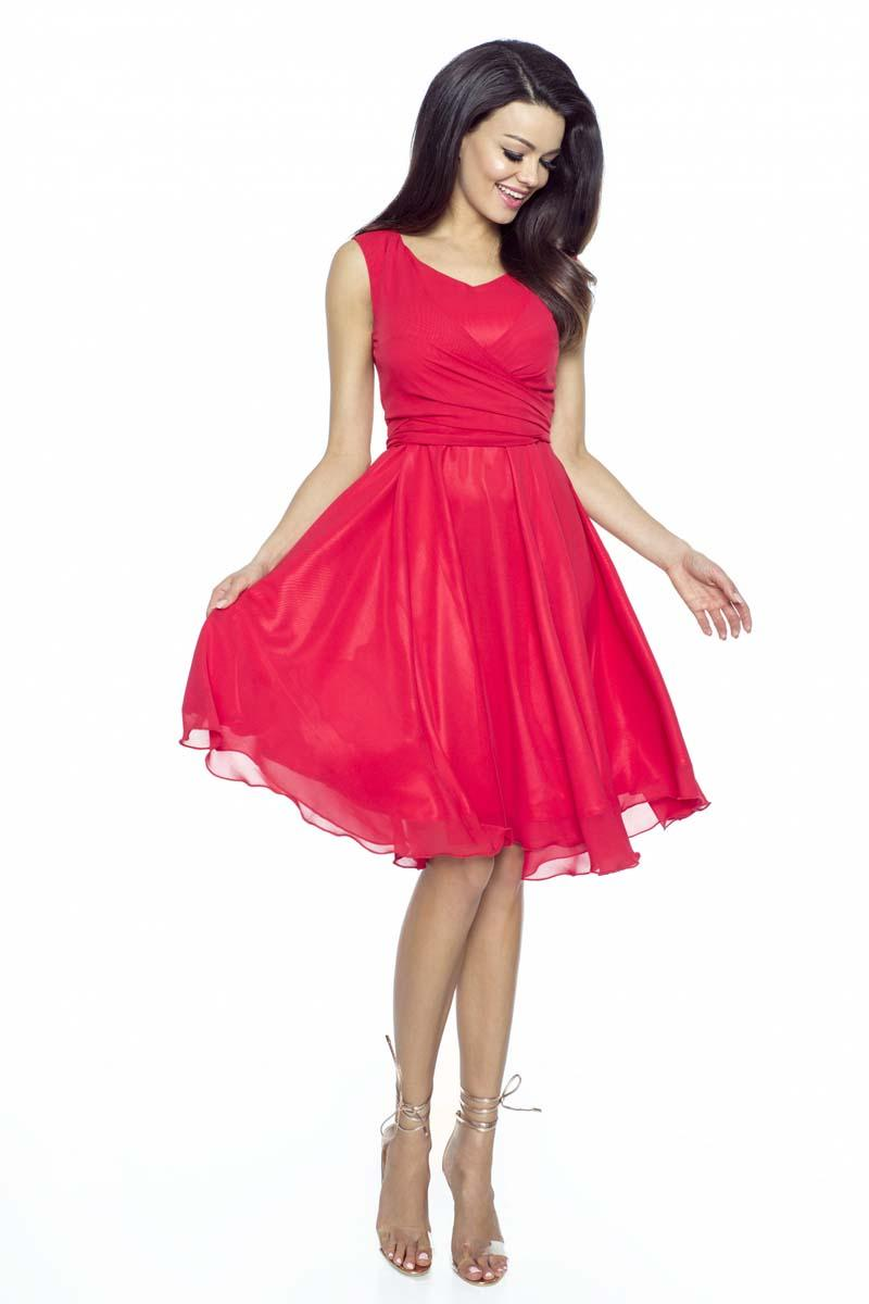 Red Chiffon Coctail Dress