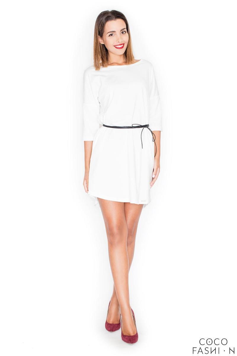 Ecru Casual Comfy 3/4 Sleeves Mini Dress with Belt от cocofashion