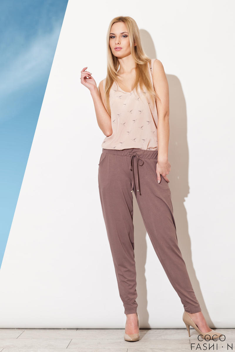 Pull String Brown Pants with Taperes Leg
