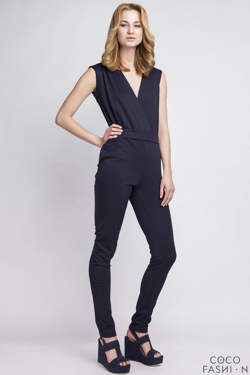 Navy Blue Wrap Neckline Elegant Ladies Jumpsuit