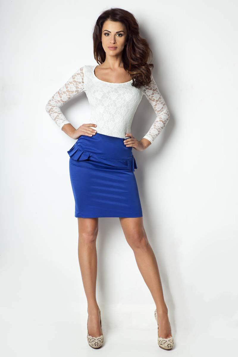 blue-bodycon-fit-peplum-skirt