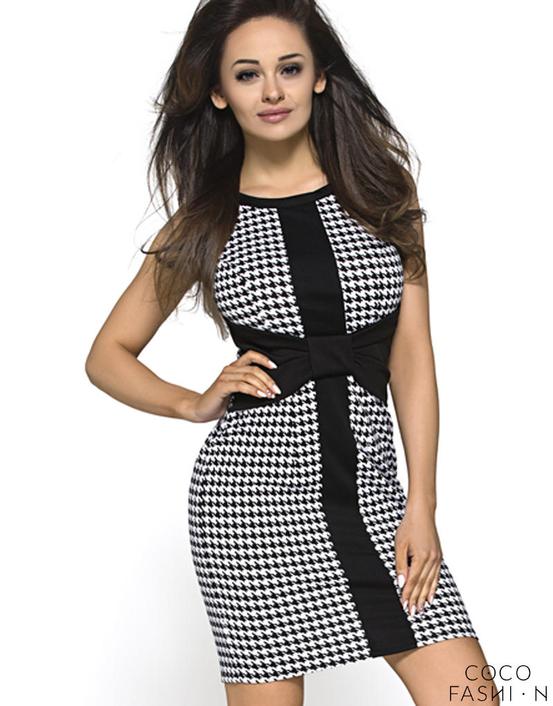 Black Hounds tooth Pussy Bow Shift Dress