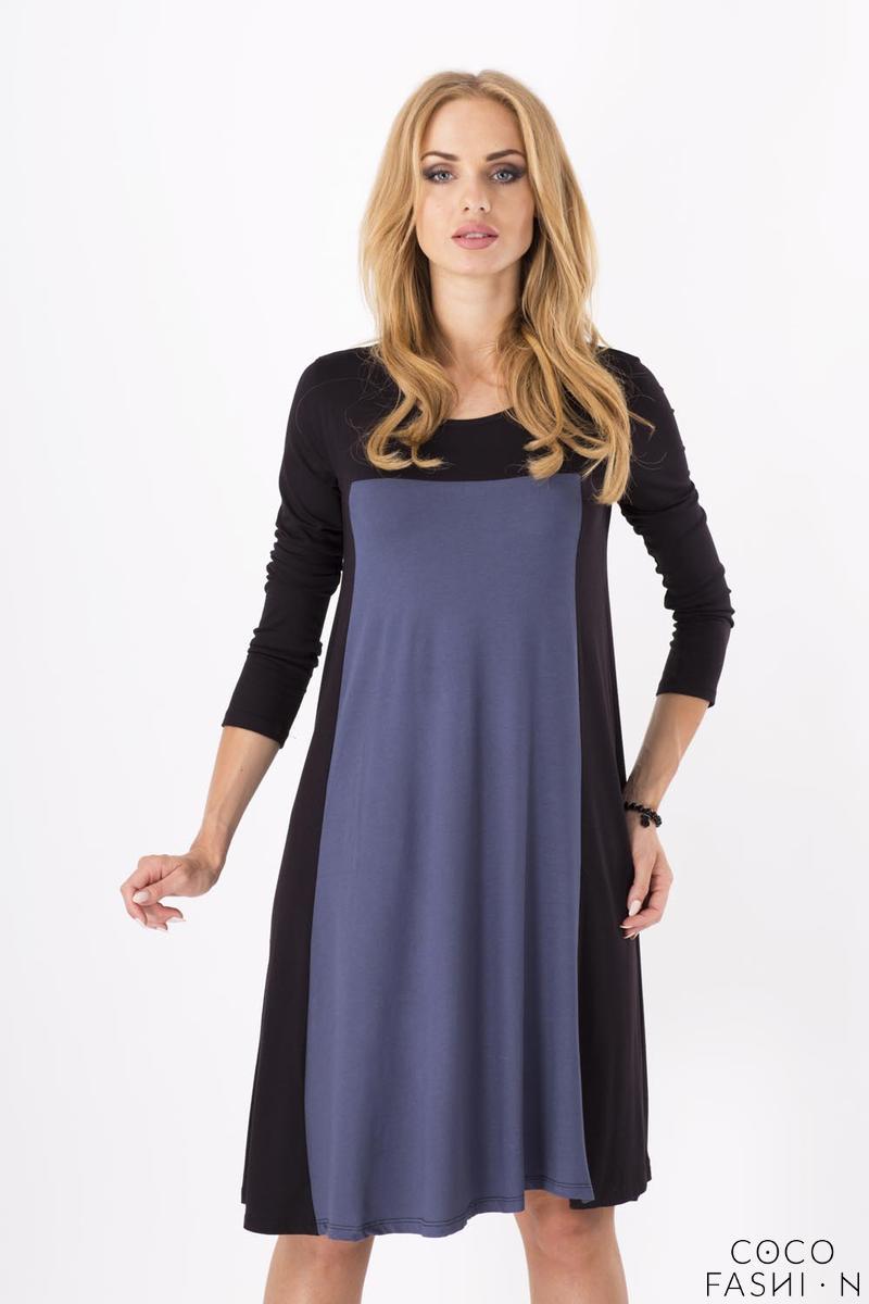 Grey&Black Casual Long Sleeves Comfy Dress от cocofashion