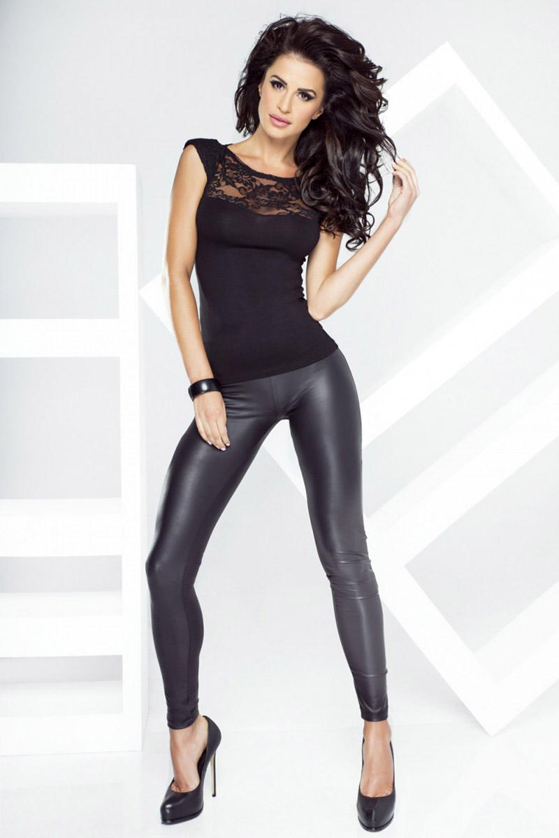 Black Bodycon Fit Leather Leggings