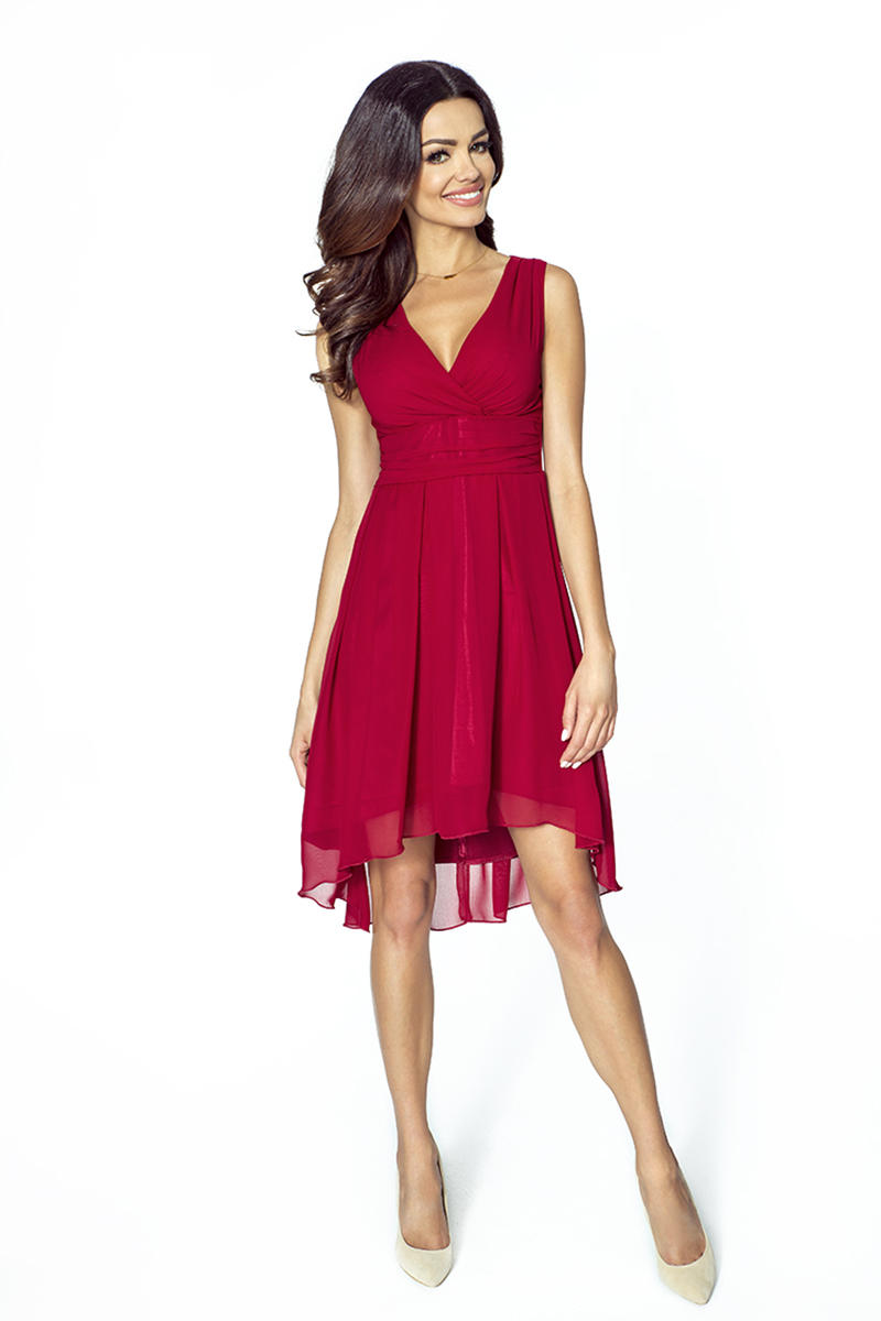 Maroon Dipped Back Wrap Front Coctail Dress