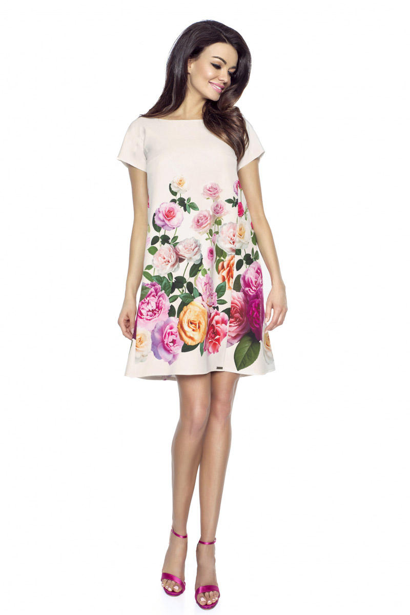 Ecru Flared Dress with Roses Pattern