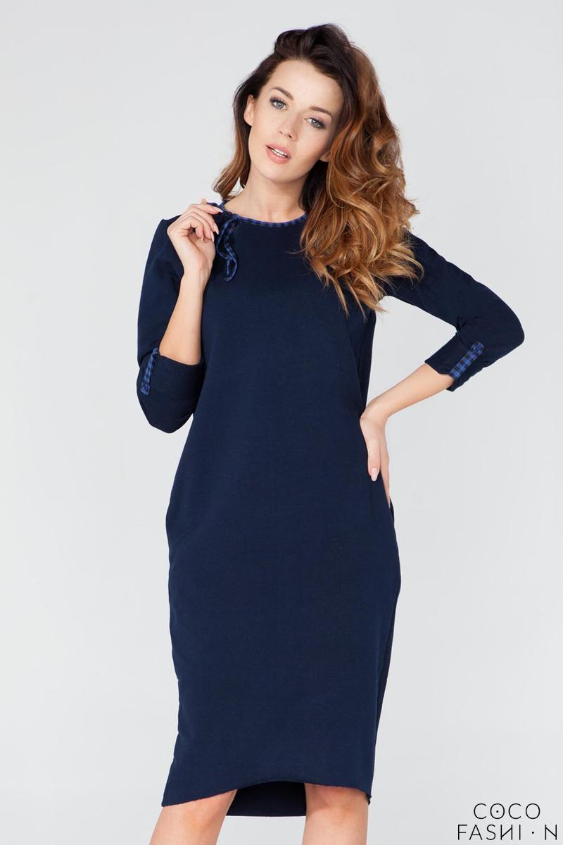 Dark Blue Casual 3/4 Sleeves Dress with Colorful Piping от cocofashion