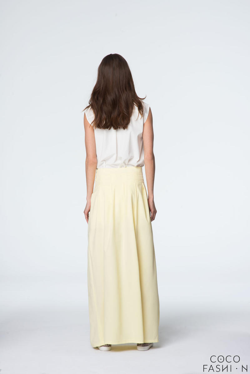 yellow maxi skirt with self tie bow