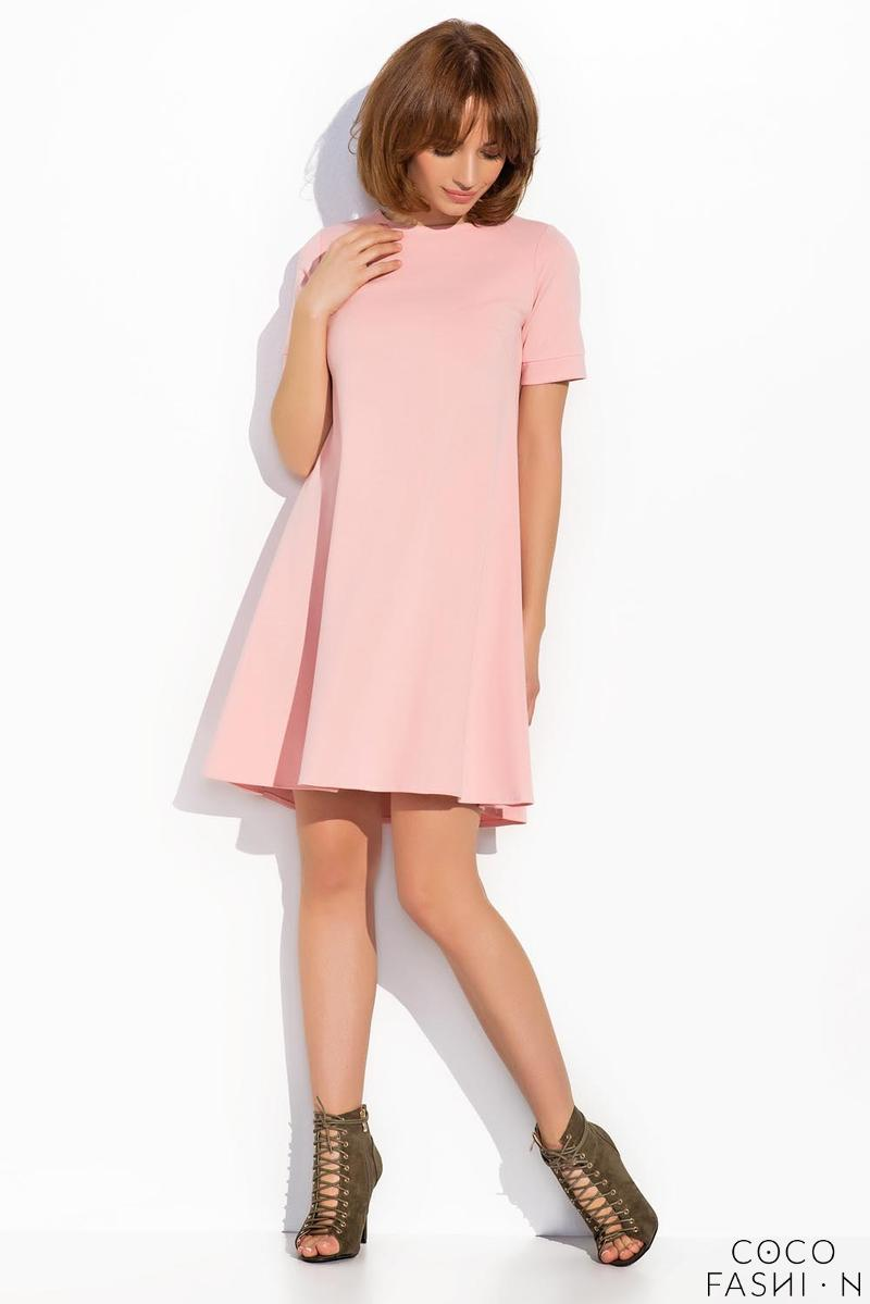 Pink Short Sleeves Mini Swing Dress