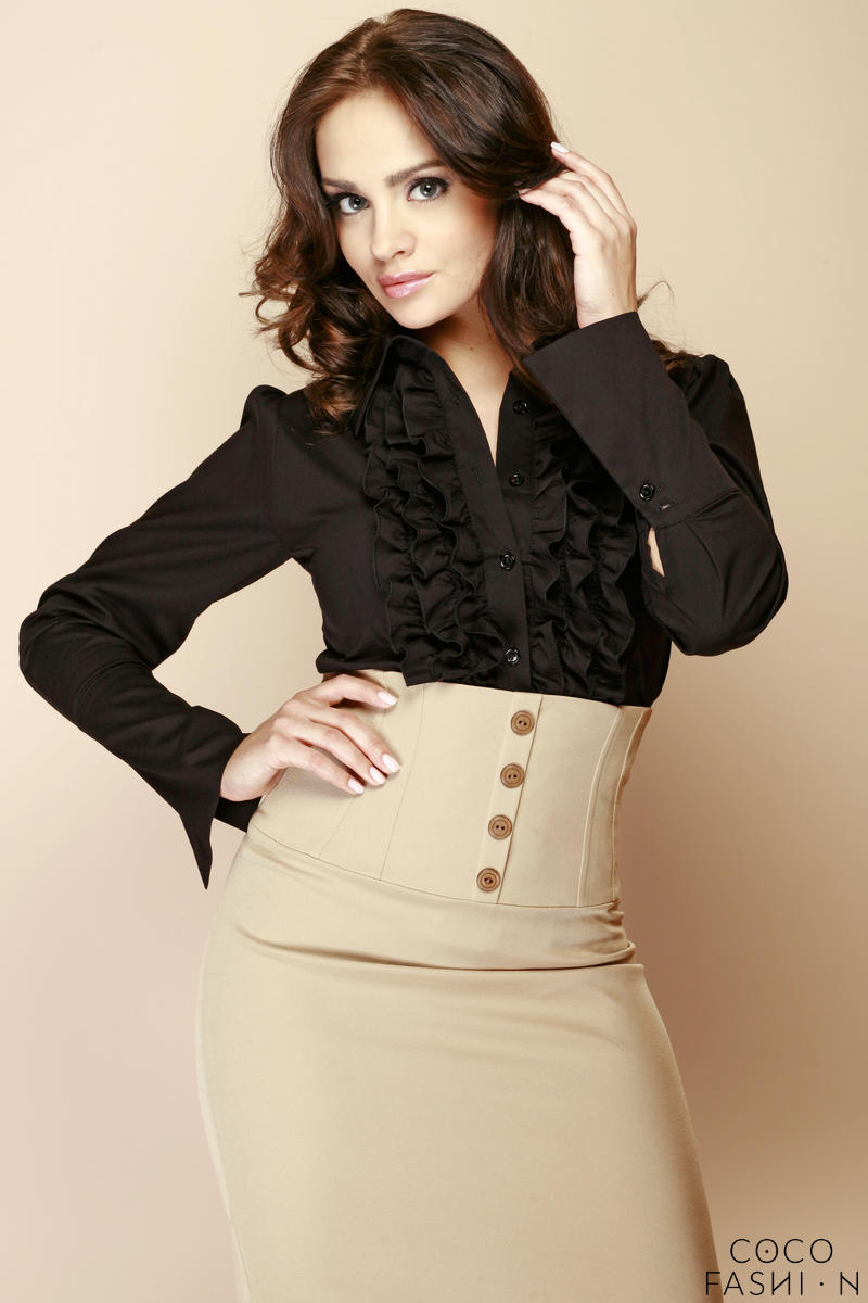 Black Ruffled Blouse with Fanned Sleeves
