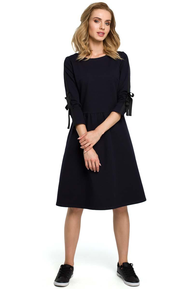 Navy Classic Dress With Stripe and Bow