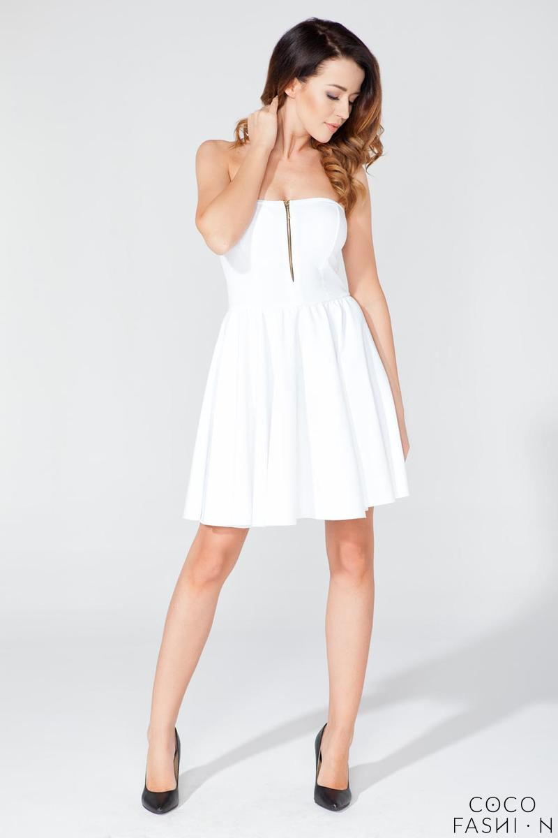 White Off Shoulders Party Dress with a Zip