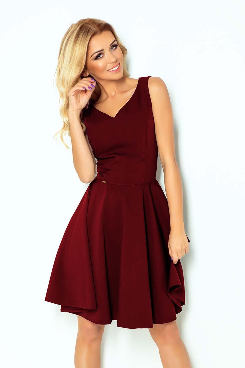 Maroon Elegant Dress Flared on Wide Straps