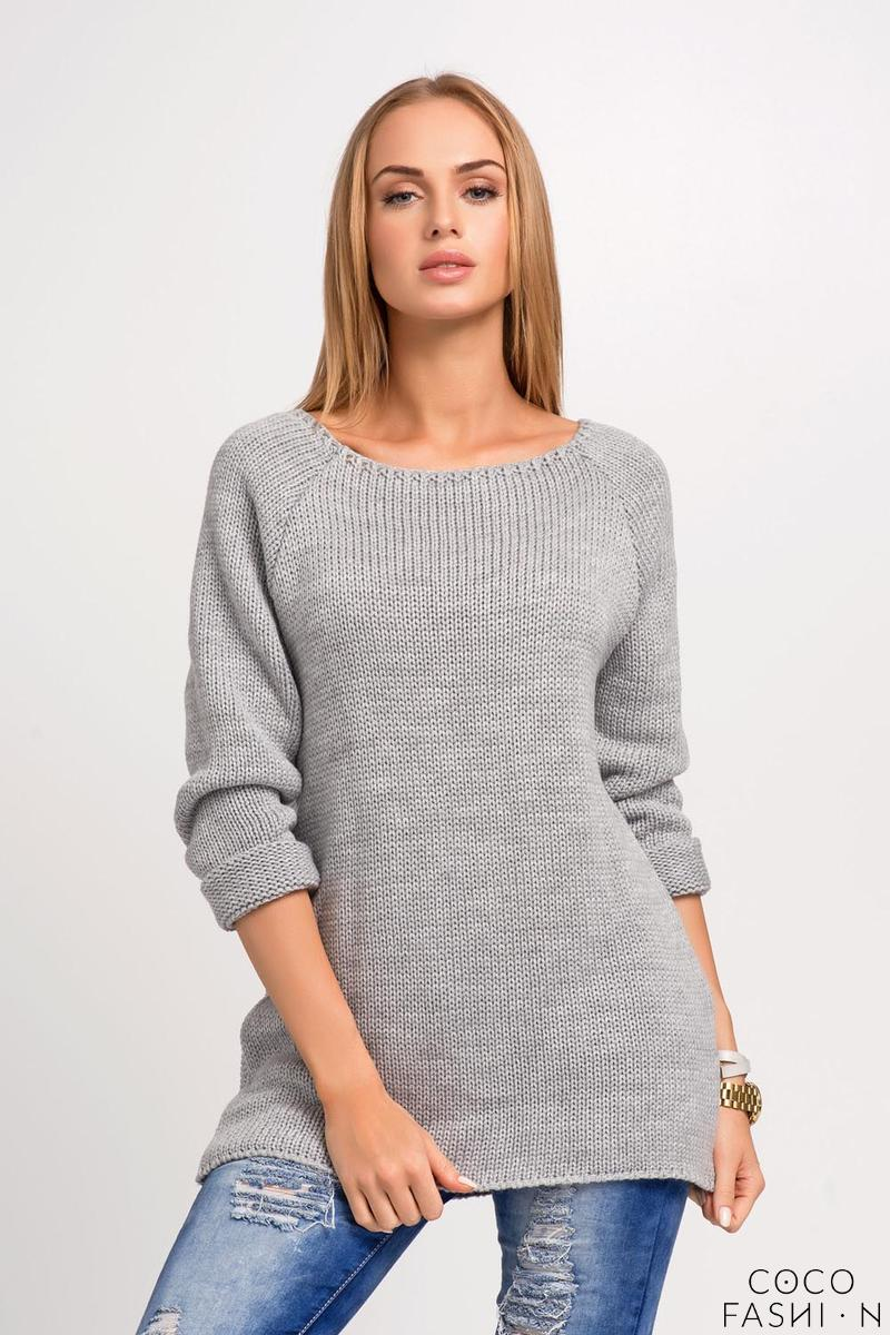 Grey Regular Fit Raglan Sleeves Jumper