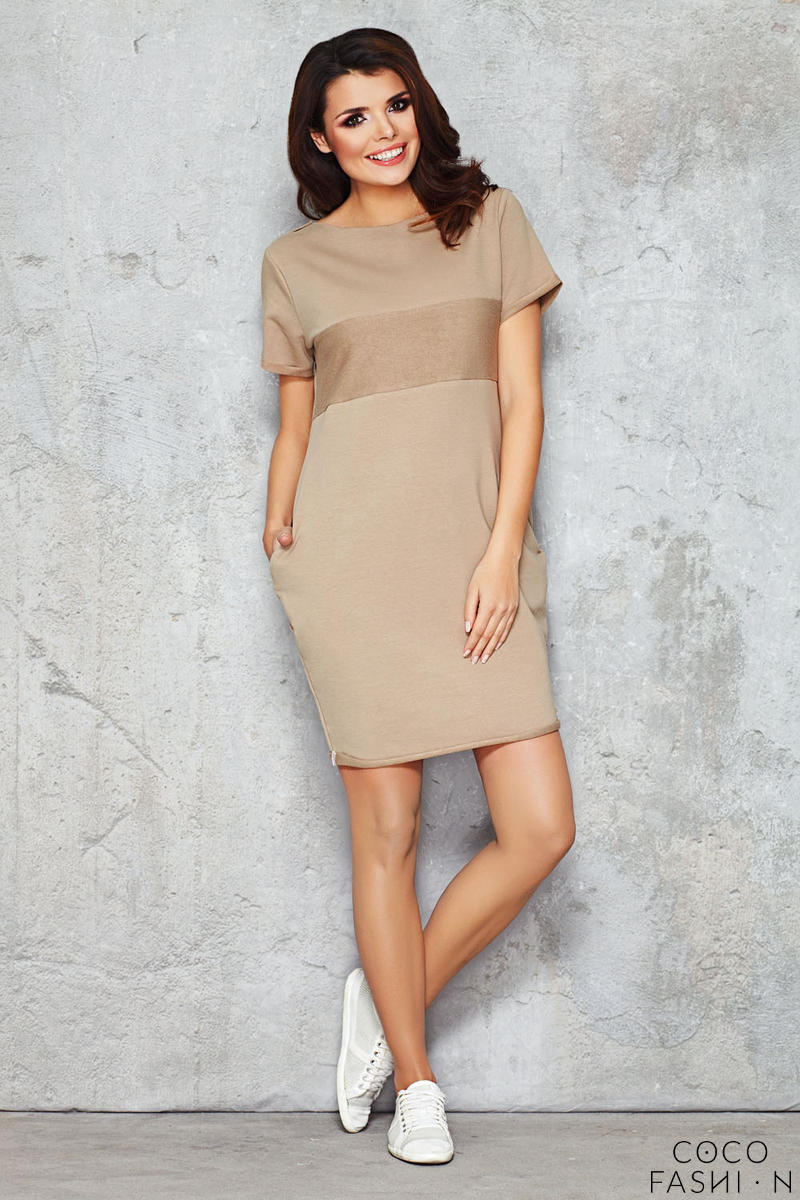Beige Shift Dress with Silky Bust Panel