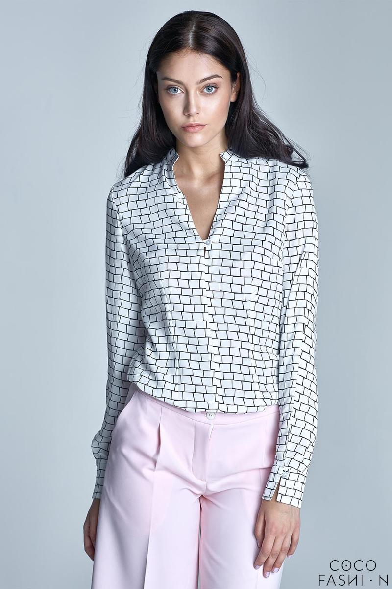 Black&White Stand-up Collar Long Sleeves Shirt
