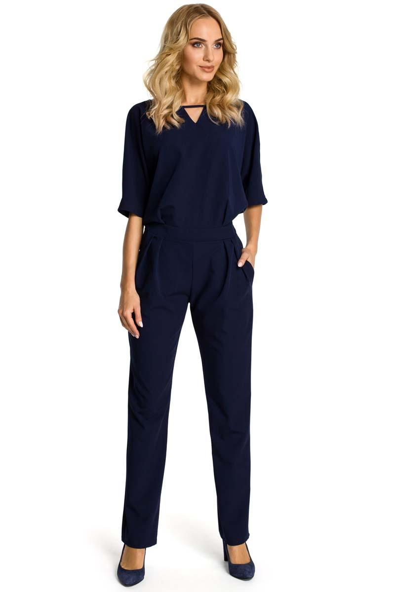 Navy Elegant Jumpsuit with Short Sleeves