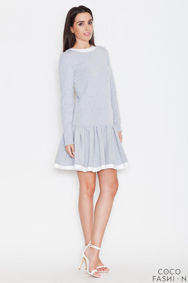 Grey Long Sleeves Dress with White Contrasting Piping