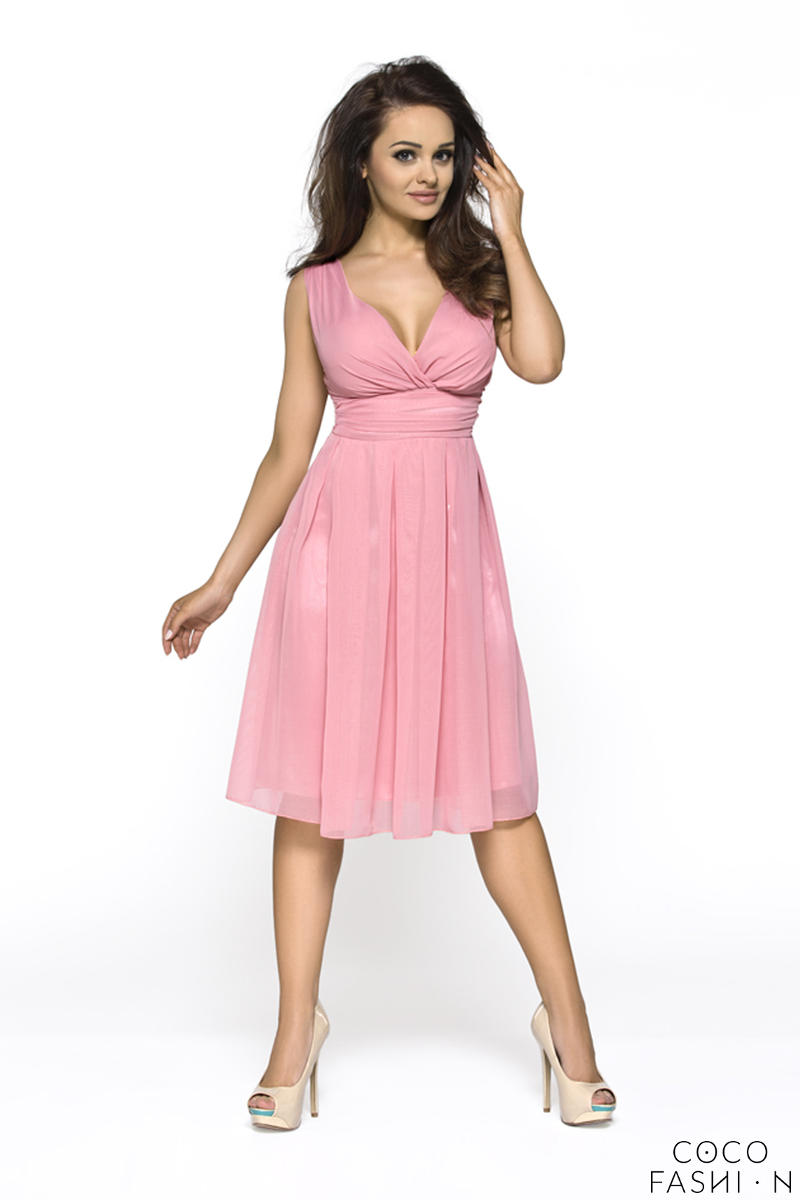 Pink Elegant Deep Neck Evening Dress