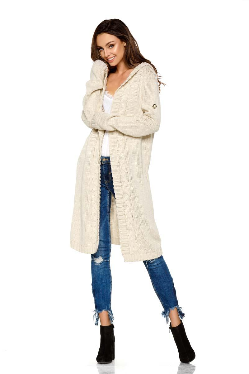 Beige Hooded Long Cardigan