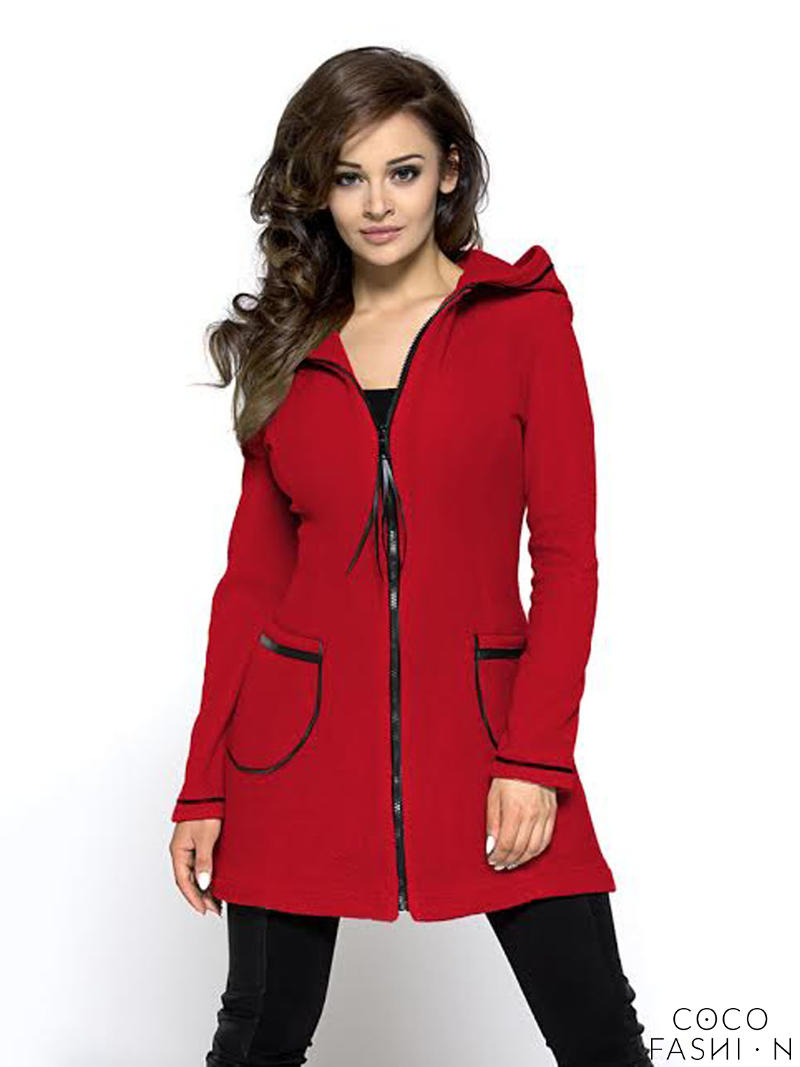 red-a-line-sporty-dress-hoodie-coat