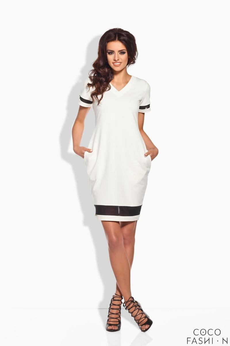 Ecru Casual Dress with Transparent Details