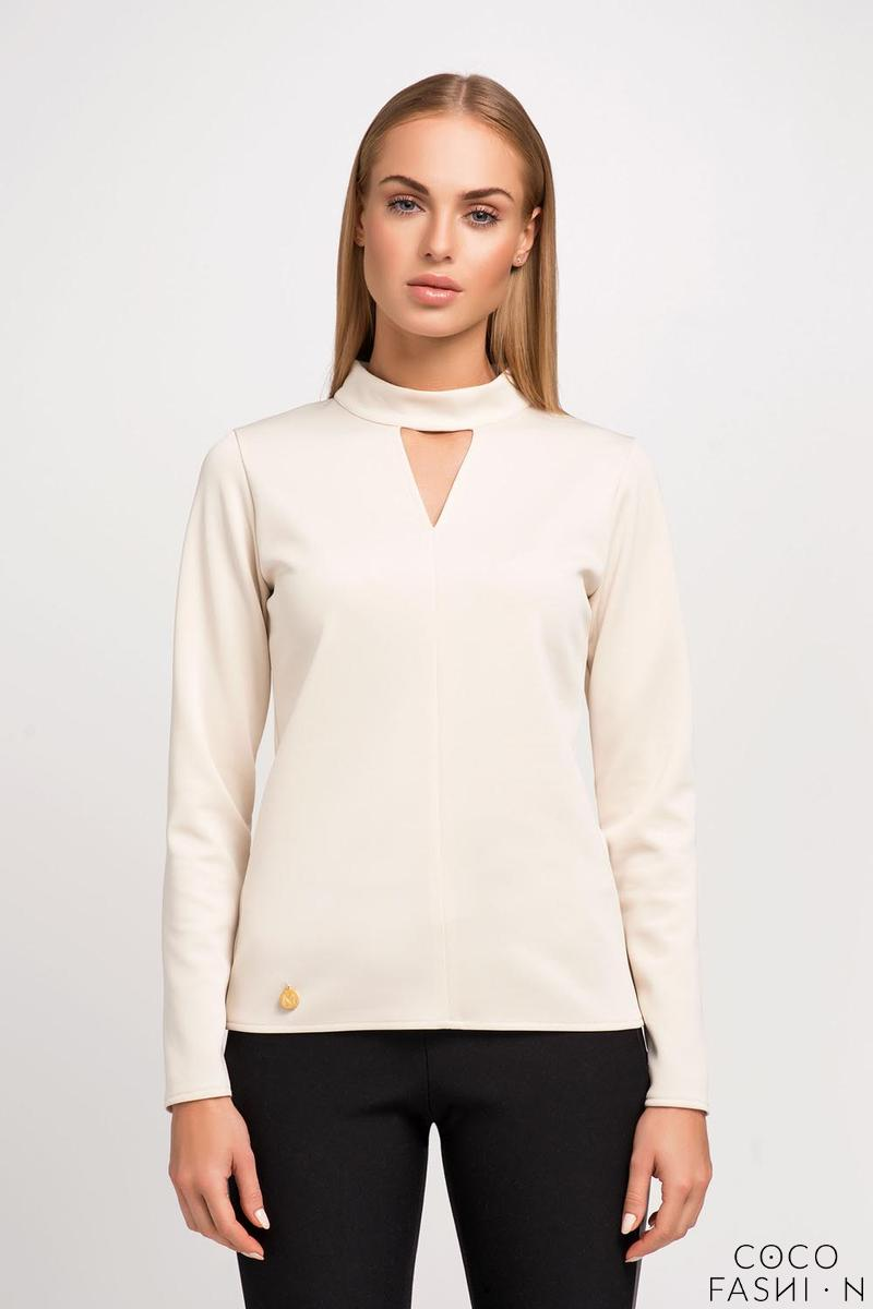 Beige Blouse with Stand-up Collar and Triangle Cut Out