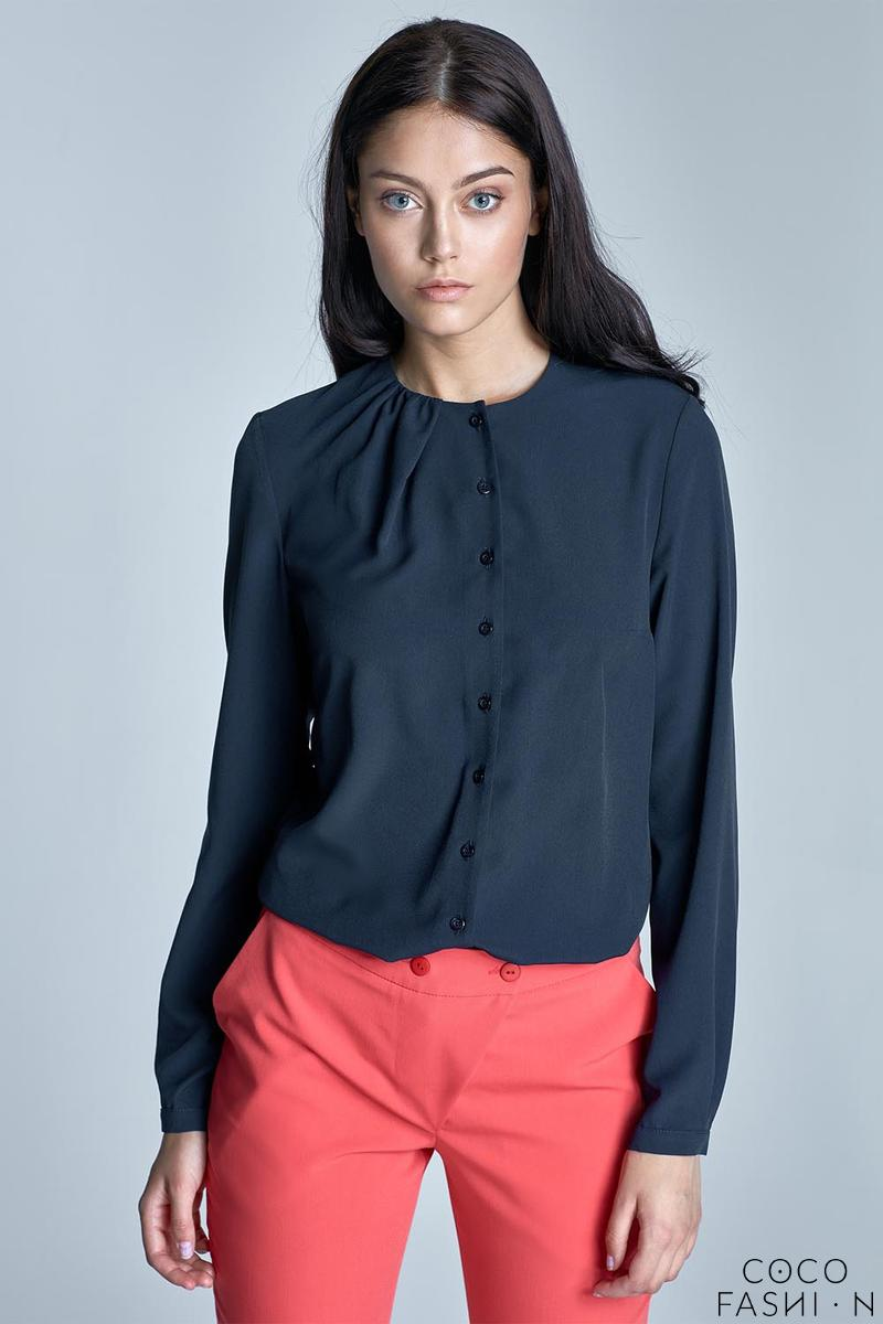 Dark Blue Round Neckline Long Sleeved Shirt