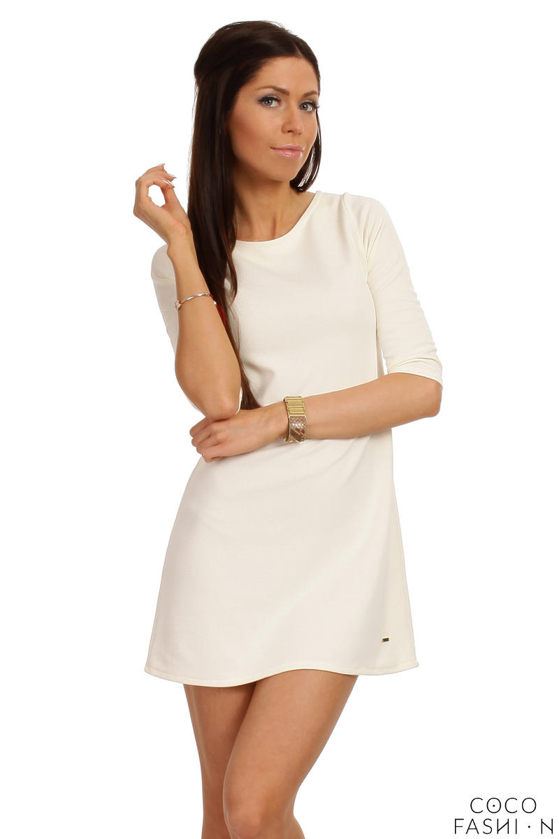 Off White Shift Dress with Metallic Emblem