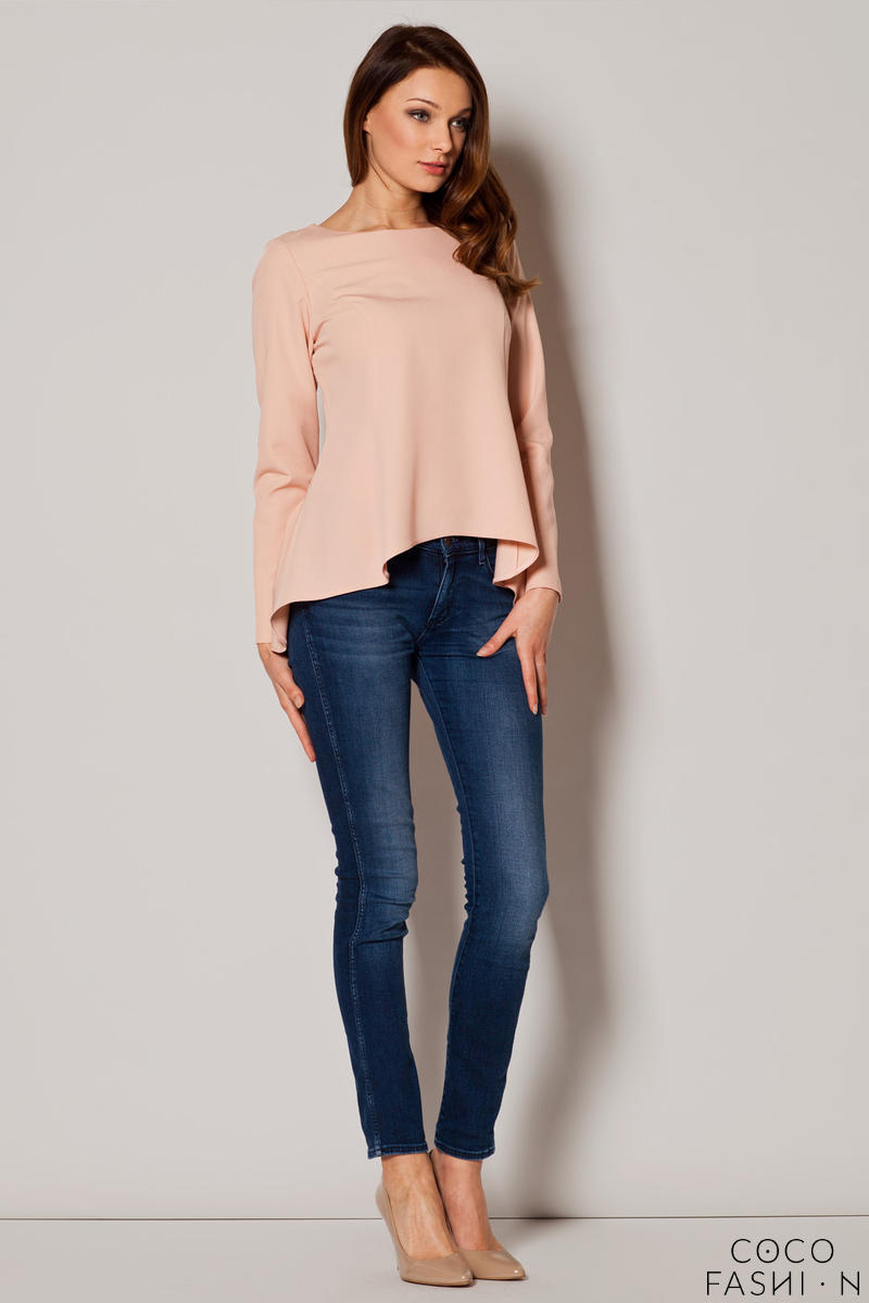 Bateau Neck Dippy Hem Pink Top with Seam Back