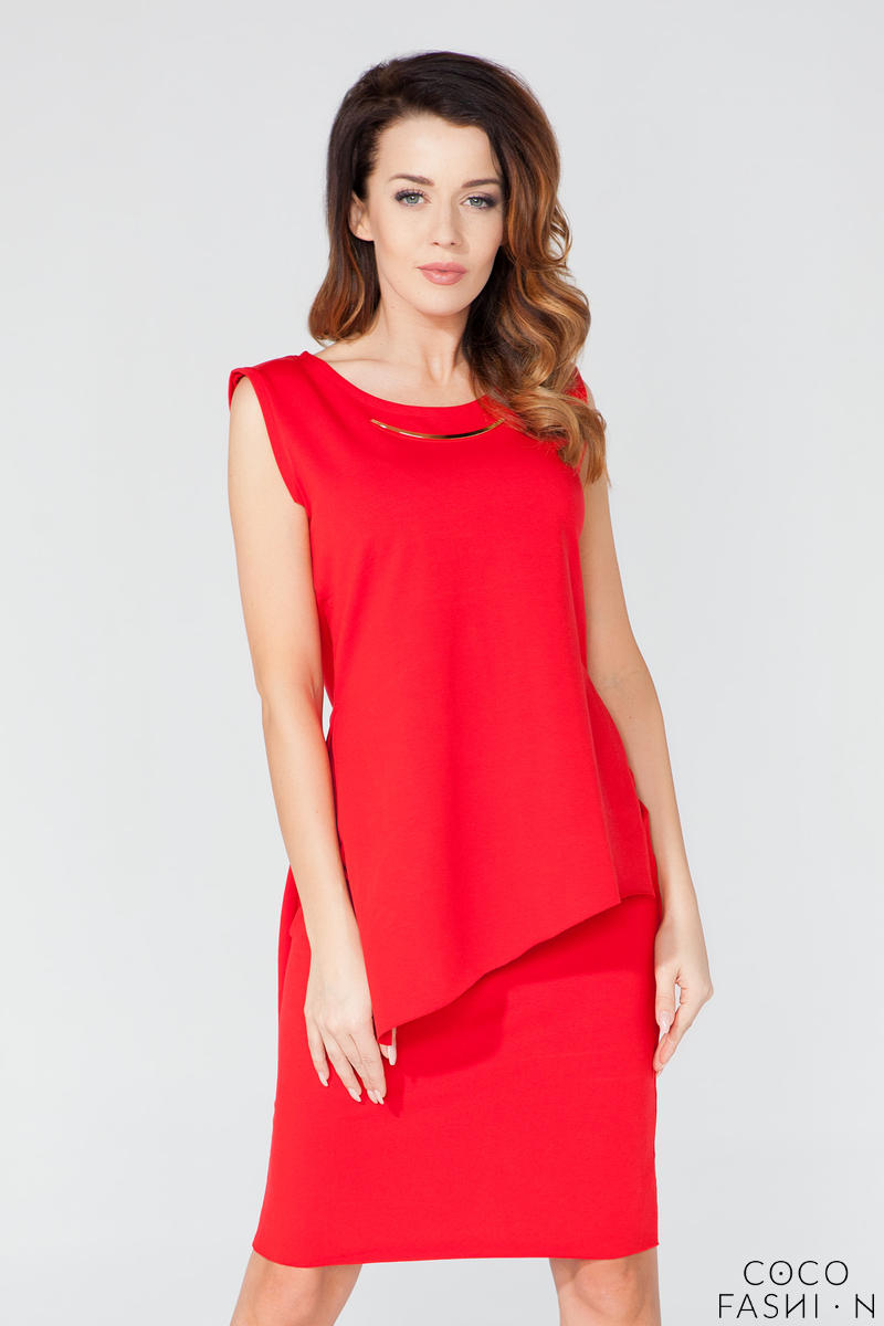 red-asymmetrical-sleeveless-blouse