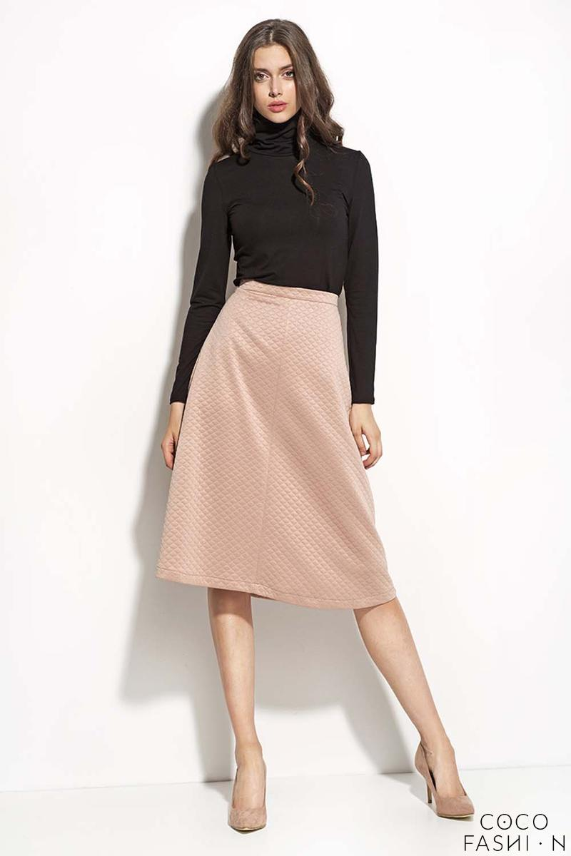 pale pink textured midi length seam skirt
