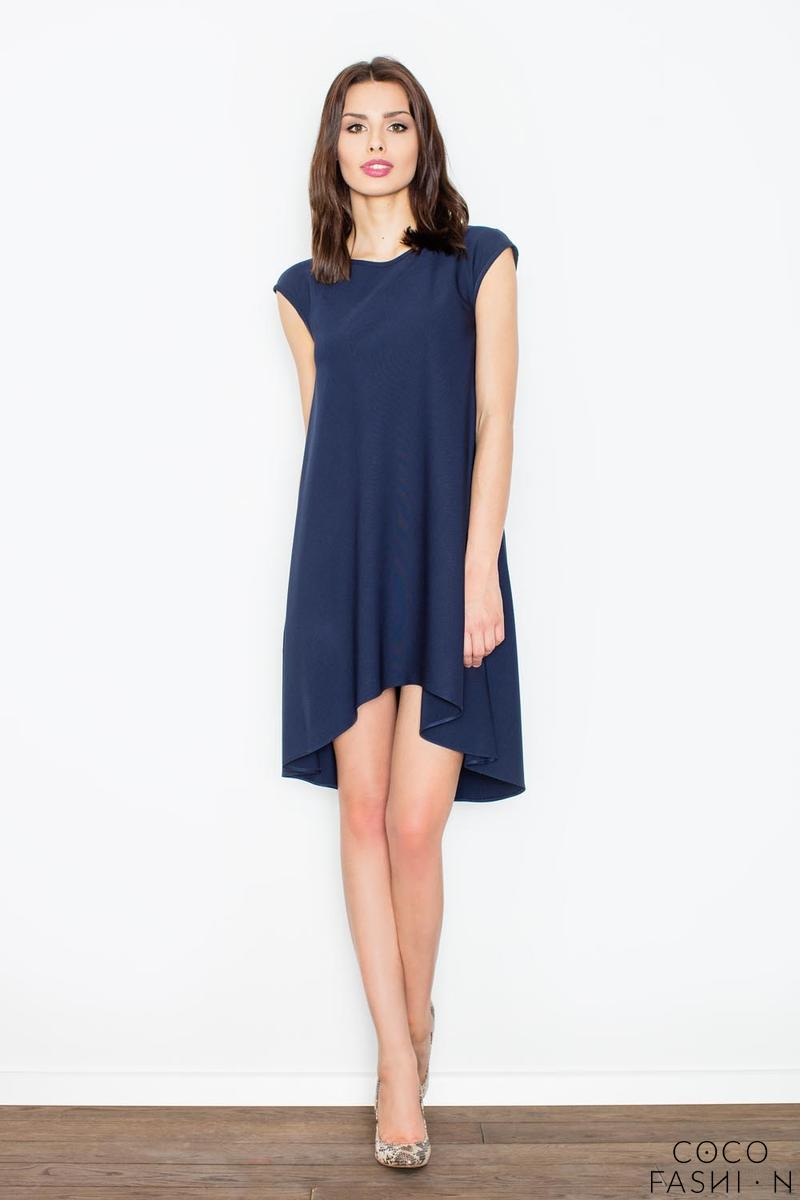 Dark Blue Asymmetric Hem Romantic Swing Dress