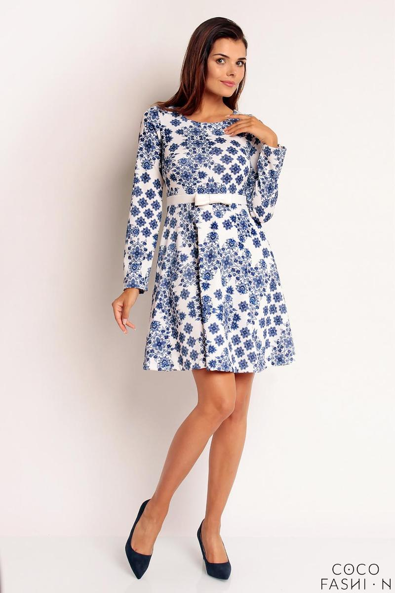Blue&White Flared Belted Dress with Bow