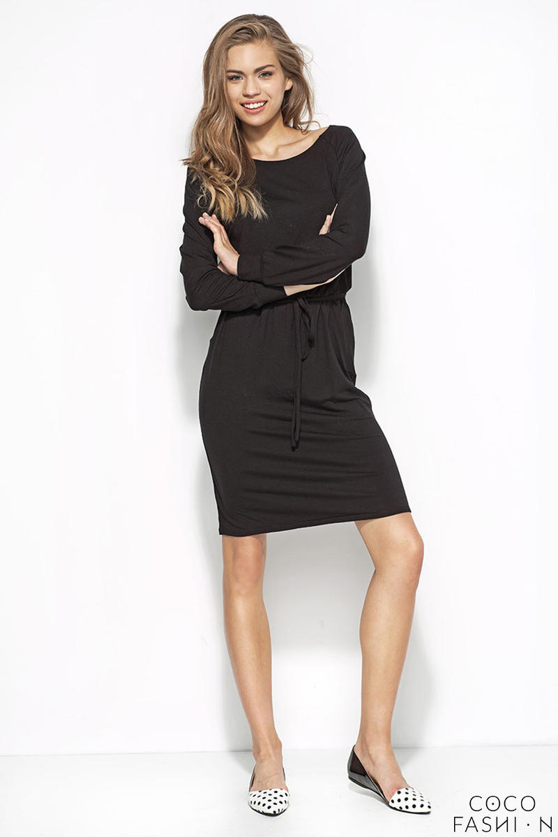 Flecked Black Sweatshirt Dress with Self Tie Waist