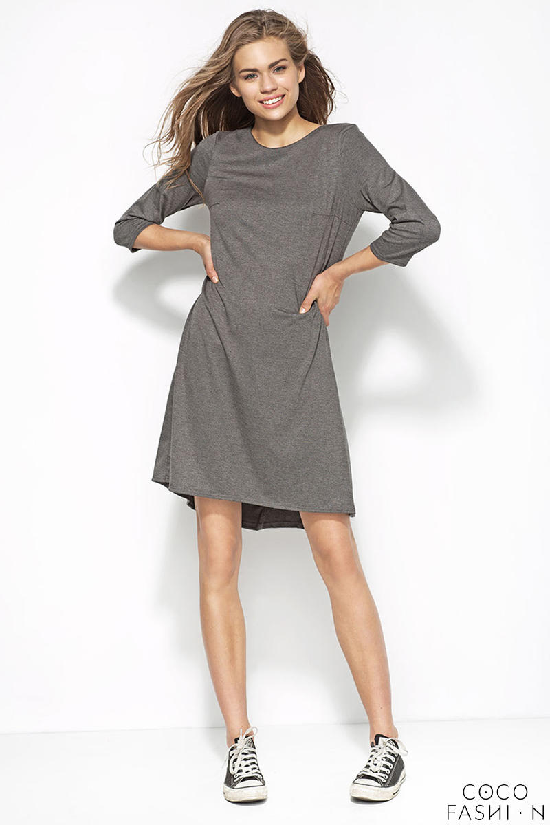 Grey Plain Dress with Elbow Length Sleeves