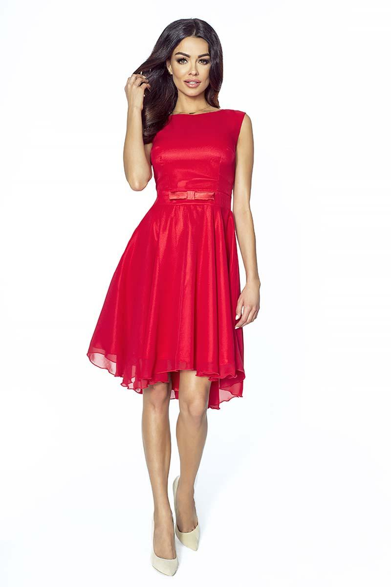 Elegant Red Chiffon Dress With Bow