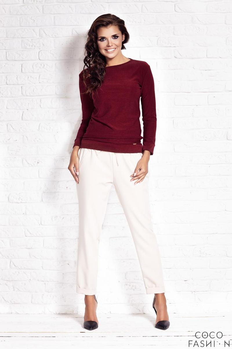 Maroon Classic Long Sleeved Blouse