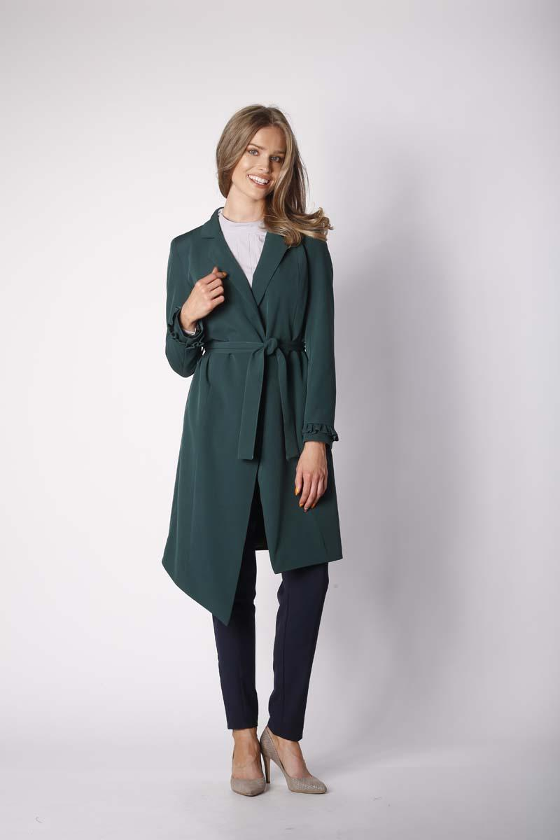Green Elegant Coat with a frill on the sleeve