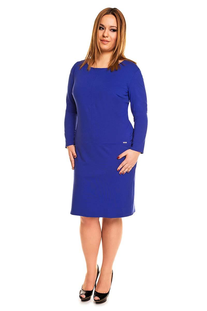 Blue Long Sleeved Side Pockets Classic Dress PLUS SIZE