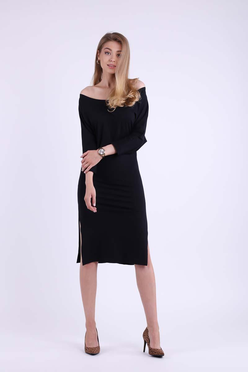 Black fitted midi dress with side slits