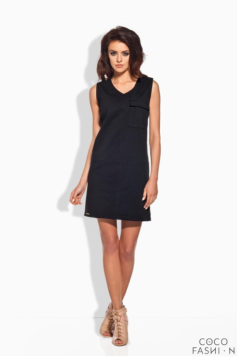 Black Sporty Casual Style Dress With Pocket
