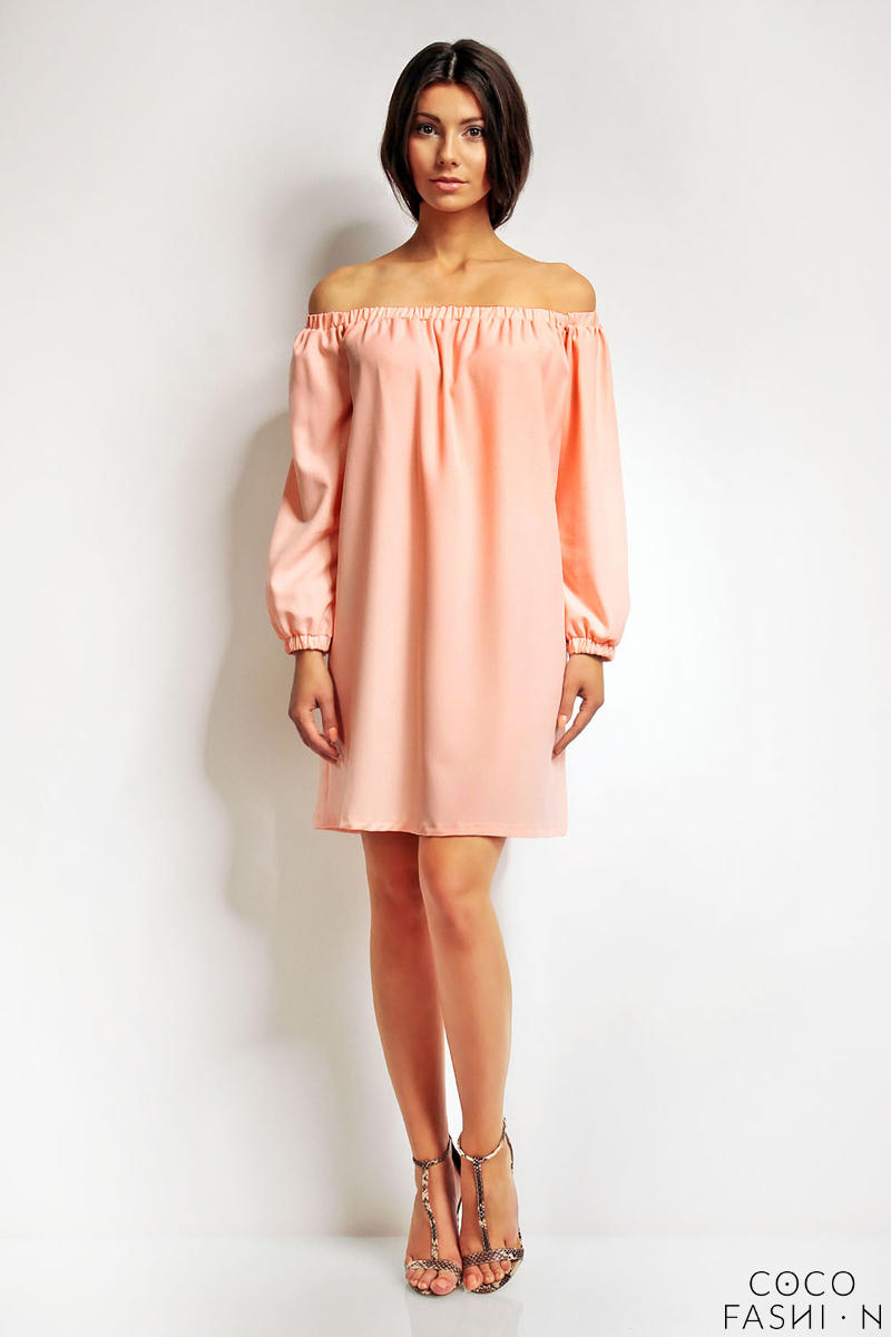 pink-boho-chic-elastic-off-s-houlder-neckline-dress